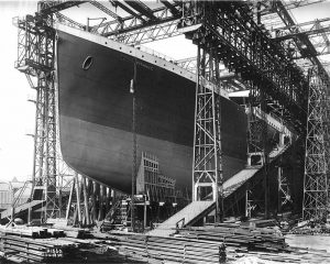 image of Titanic under construction