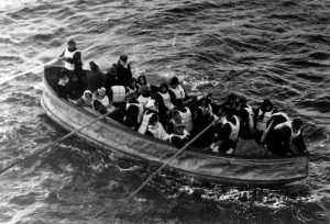 Image of passengers on a lifeboat
